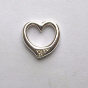 Sterling Silver Extra Small Diamond set Floating Heart Pendant